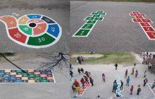 Οι ζωγραφιές - παιχνίδια στην αυλή του 30ου Δημοτικού Σχολείου Τρικάλων