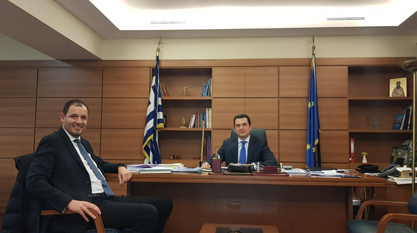 Συνάντηση εργασίας ΥφΑΑΤ Κ. Σκρέκα - Αντιπεριφερειάρχη Καρδίτσας Κ. Νούσιου