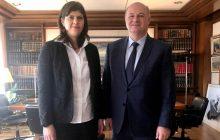 Συνάντηση του Υπουργού Δικαιοσύνης Κώστα Τσιάρα με την Επικεφαλής της Ευρωπαϊκής Εισαγγελίας Laura Codruta Kövesi