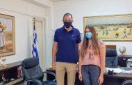 Συνάντηση του Αντιπεριφερειάρχη Π.Ε Καρδίτσας κ. Κωστή Νούσιου με την πρωταθλήτρια Καρδιτσιώτισσα της κολύμβησης Χριστίνα Χάρμπα