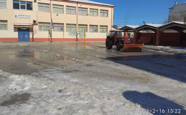Ολοκληρώνεται ο εκχιονισμός σε όλο το Δήμο Καρδίτσας